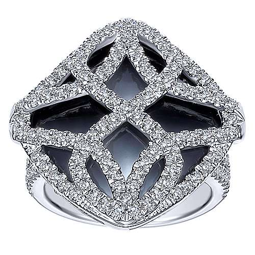18K White Gold Cushion Cut Onyx Statement Ring with Diamond Overlay