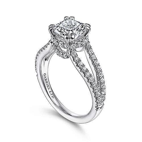 18K White Gold Cushion Cut Split Shank Diamond Engagement Ring