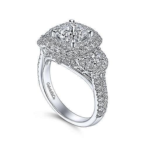 18K White Gold Cushion Double Halo Diamond Engagement Ring