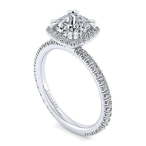 18K White Gold Cushion Halo Diamond Engagement Ring