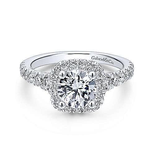 Gabriel - 18K White Gold Cushion Halo Round Diamond Engagement Ring