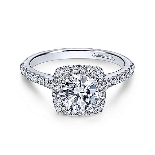 Gabriel - 18K White Gold Cushion Halo Round Diamond Engagement Ring