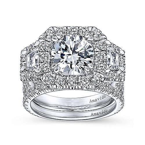 18K White Gold Cushion Three Stone Halo Round Diamond Engagement Ring