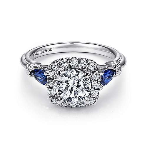 18K White Gold Cushion Three Stone Halo Round Sapphire and Diamond Engagement Ring