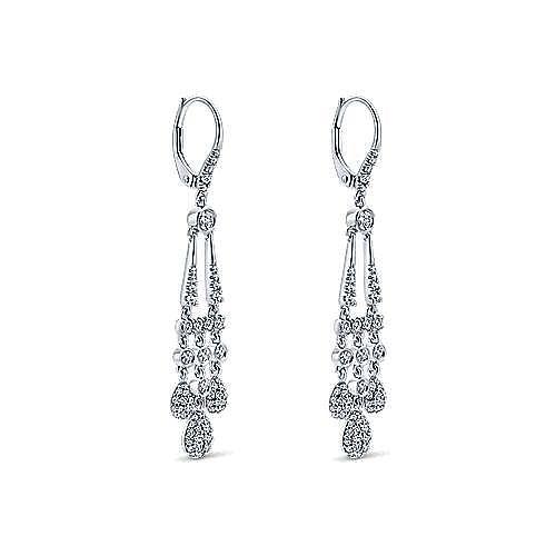18K White Gold Diamond Chandelier Earrings