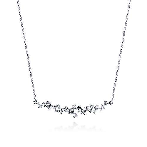 18K White Gold Diamond Cluster Curved Bar Necklace