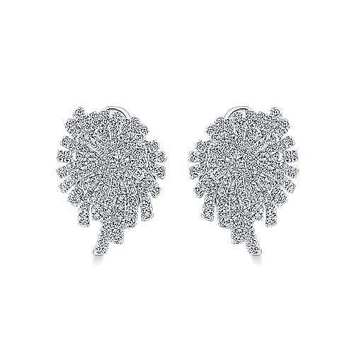 18K White Gold Diamond Cluster Statement Earrings
