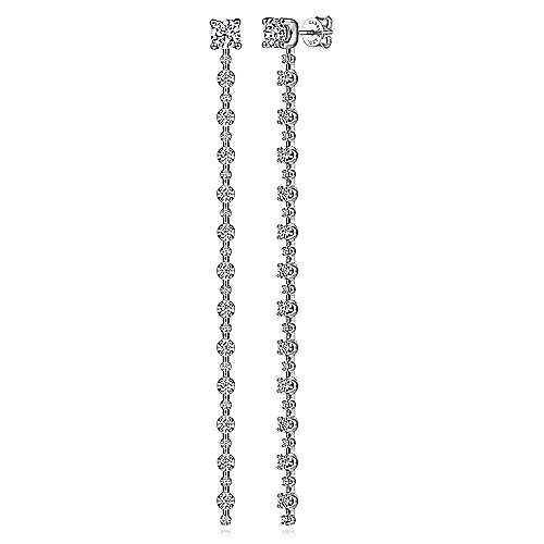 18K White Gold Diamond Drop Earrings