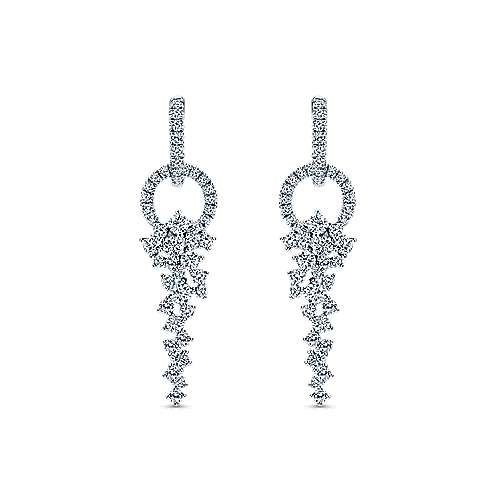 18K White Gold Diamond Huggies with Cascading Cluster Drops
