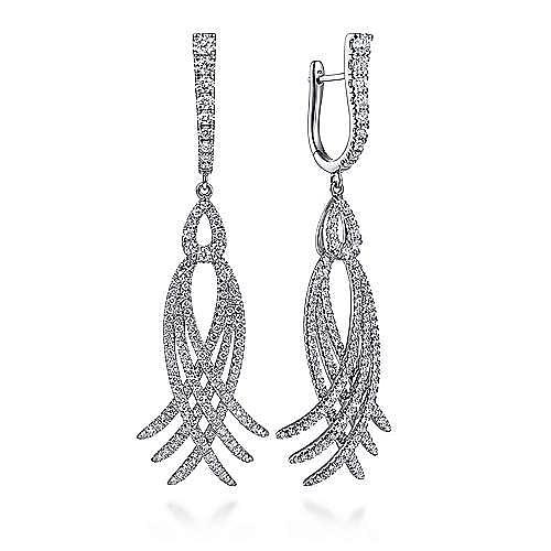 18K White Gold Diamond Interlocking Statement Earrings