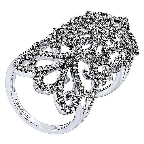 18K White Gold Diamond Openwork Double Ring
