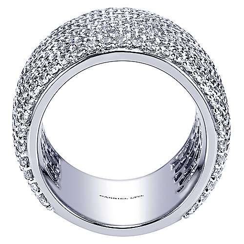 18K White Gold Diamond Pavé Domed Ring