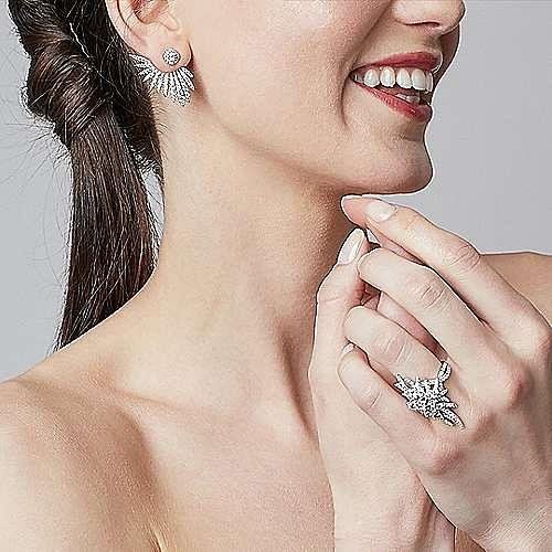 18K White Gold Diamond Pavé Oval Sunburst Statement Ring