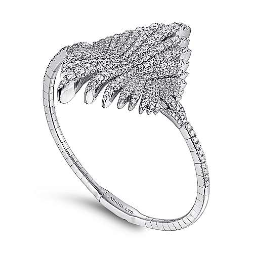 18K White Gold Diamond Pavé Statement Bangle