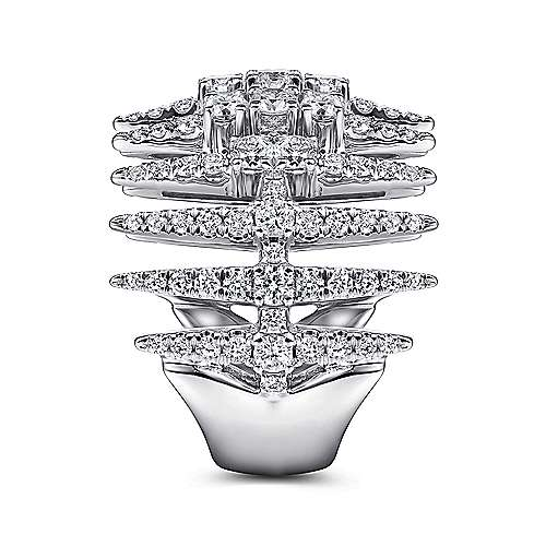 18K White Gold Diamond Spike Wide Band Ring