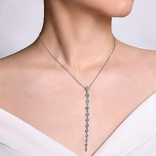 18K White Gold Diamond Station Y Necklace