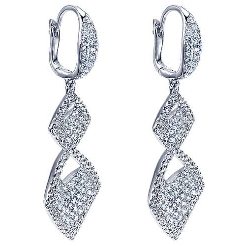 18K White Gold Double Rhombus Diamond Drop Earrings