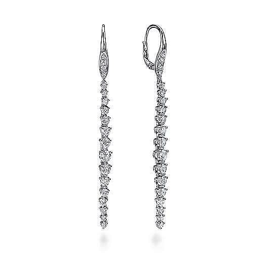 18K White Gold Elongated Diamond Drop Earrings
