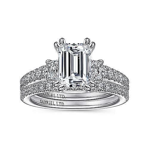 18K White Gold Emerald Cut Three Stone Diamond Engagement Ring