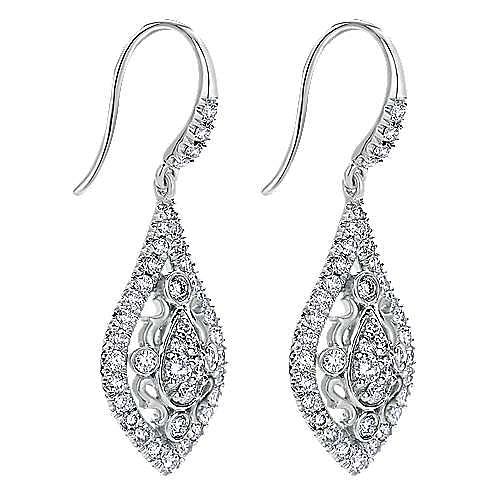 18K White Gold Filigree Pointed Teardrop Diamond Drop Earrings
