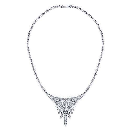 18K White Gold Graduating Diamond Bar Statement Necklace