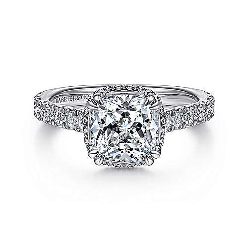 18K White Gold Hidden Halo Cushion Cut Diamond Engagement Ring