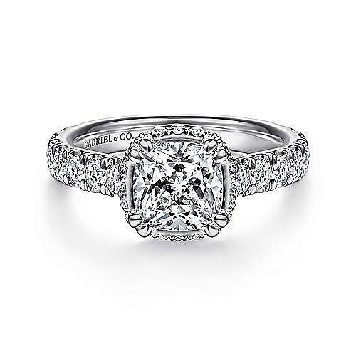 18K White Gold Hidden Halo Cushion Cut Diamond Engagement Ring