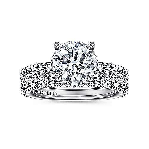 18K White Gold Hidden Halo Round Diamond Engagement Ring