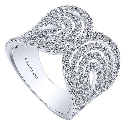 18K White Gold Interlacing Diamond Loops Corset Ring