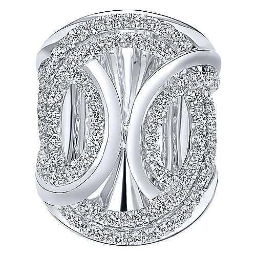 18K White Gold Intersecting Ovals Diamond Statement Ring