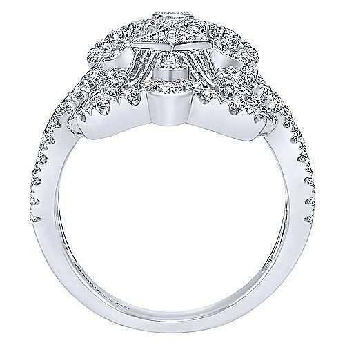 18K White Gold Intricate Openwork Elongated Diamond Statement Ring