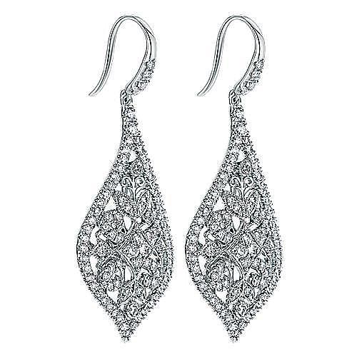 18K White Gold Intricate Pointed Teardrop Diamond Drop Earrings