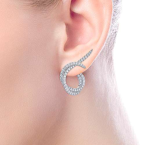 18K White Gold Intricate Twisted 25mm Diamond Hoop Earrings