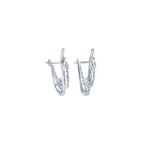 18K White Gold Intricate Twisted 25mm Diamond Hoop Earrings