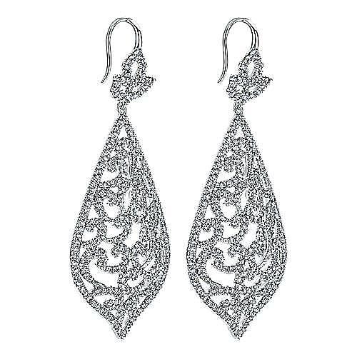 18K White Gold Large Openwork Pointed Teardrop Pavé Diamond Earrings