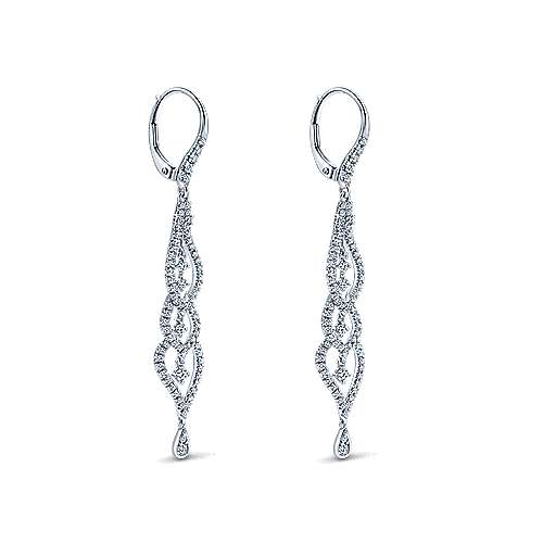 18K White Gold Layered Diamond Chandelier Earrings
