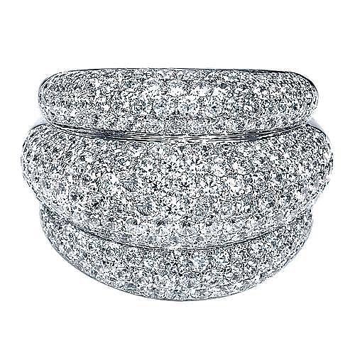 18K White Gold Layered Diamond Pavé Wide Statement Ring