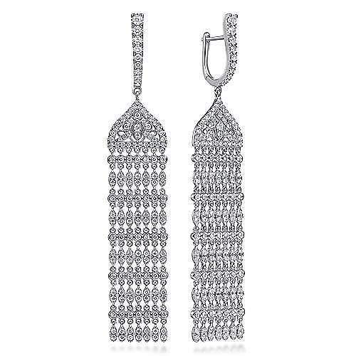 18K White Gold Long Diamond Chandelier Earrings