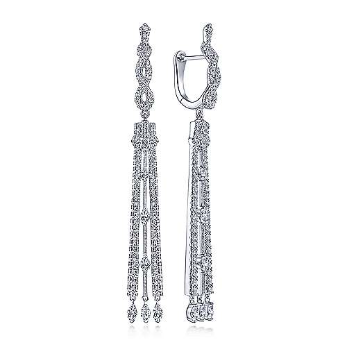 18K White Gold Long Diamond Drop Statement Earrings