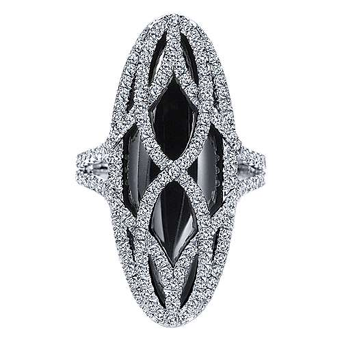 18K White Gold Long Oval Onyx Ring with Diamond Pattern Overlay