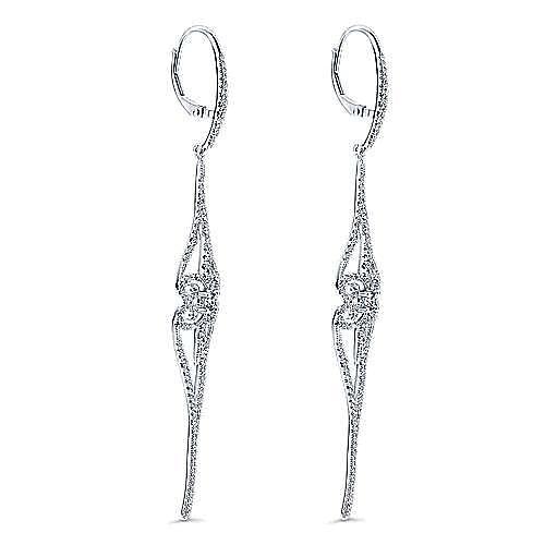 18K White Gold Long Swirly Linear Drop Diamond Earrings