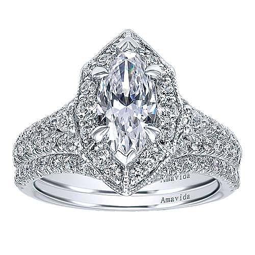 18K White Gold Marquise Halo Diamond Engagement Ring