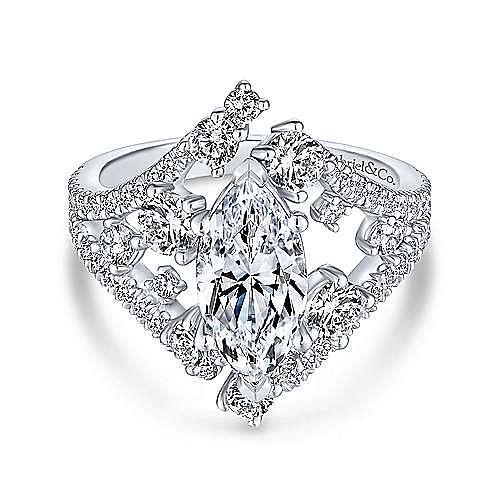 18K White Gold Marquise Shape Diamond Engagement Ring