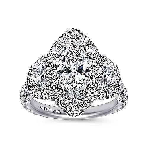 18K White Gold Marquise Three Stone Halo Diamond Engagement Ring