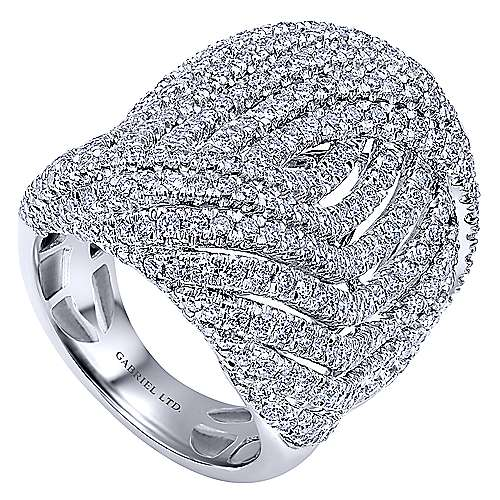 18K White Gold Multi Intersecting Diamond Rows Statement Ring