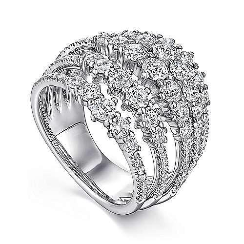 18K White Gold Multi Row Diamond Station Ring