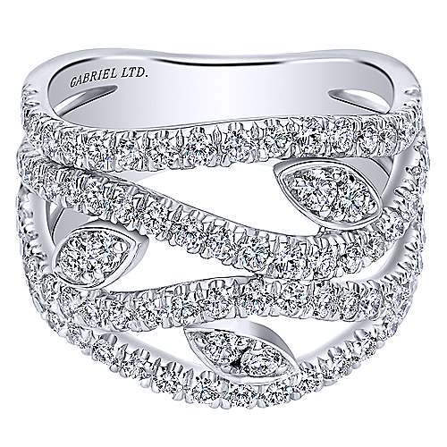 18K White Gold Multi Row Open Diamond Ring with Marquise Stations