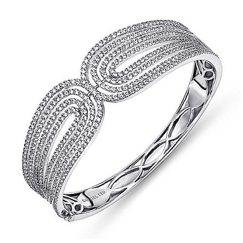 18K White Gold Multi Row Textured Diamond Bangle