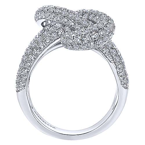 18K White Gold Multi Row Twisted Diamond Knot Ring