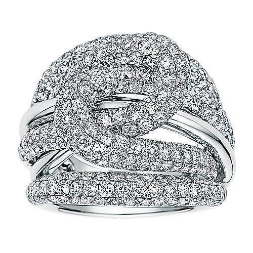 18K White Gold Multi Row Twisted Diamond Knot Ring